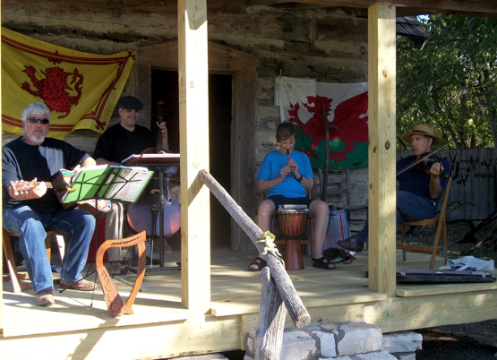 The Texas Porch Lizards play at the WSH Museum. L to R Gary Augustine, Rafael Cordova, Barbara Arabian and Mike Sonntag